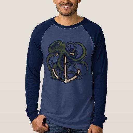 Steampunk Octopus Over Anchor Tee Shirt