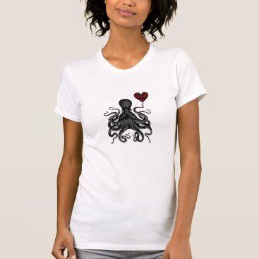 Valentines Themed Steampunk Octopus retro Kraken Love! Heart gear T-Shirt