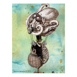 Steampunk Octopus Seacraft Postcard