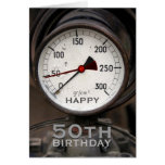 Steampunk Old Manometer 50th Birthday Greeting Card