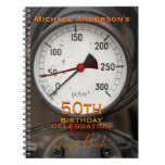 Steampunk Old Manometer 50th Birthday Guest Book Notebooks