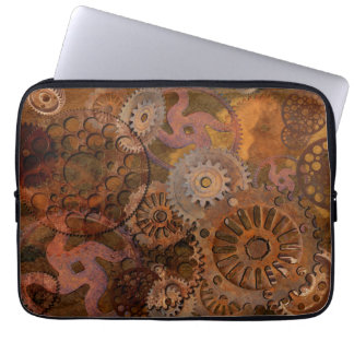 Steampunk Old Rusty Cogs & Gears Metal Effect Laptop Computer Sleeves