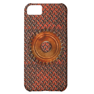 Steampunk Old Rusty Plating Red Metal & Cog Cover For iPhone 5C