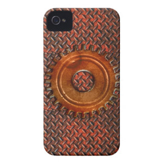 Steampunk Old Rusty Plating Red Metal & Cog iPhone 4 Case-Mate Case
