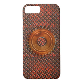 Steampunk Old Rusty Plating Red Metal & Cog iPhone 8/7 Case