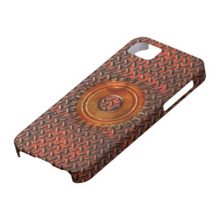 Steampunk Old Rusty Plating Red Metal & Cog iPhone SE/5/5s Case