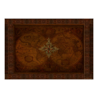 Steampunk Old World Map & Compass Rose Design Poster