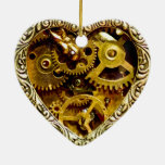 Steampunk Double-Sided Heart Ceramic Christmas Ornament