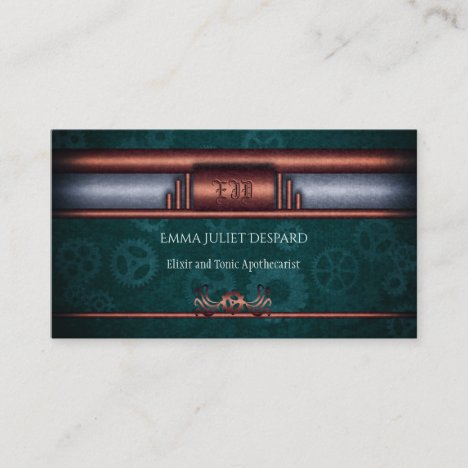 Steampunk Outfitters, copper on teal cogs Monogram Business Card