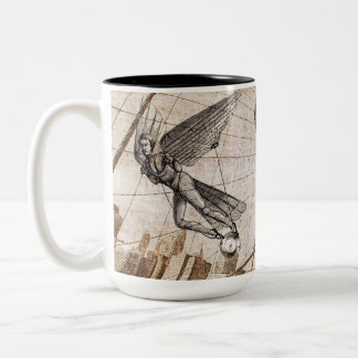steampunk over the Brooklyn Bridge Two-Tone Coffee Mug
