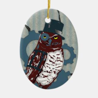 Steampunk Owl and Mattress Ticking Ornament