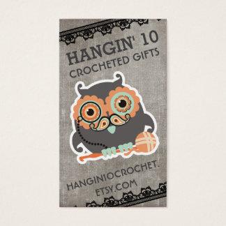 Steampunk owl monocle mustache crochet hooks yarn business card