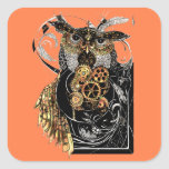 Steampunk Owl Square Sticker