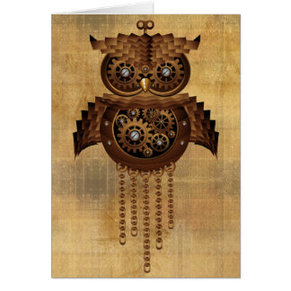 Steampunk Owl Vintage Style Greeting Cards