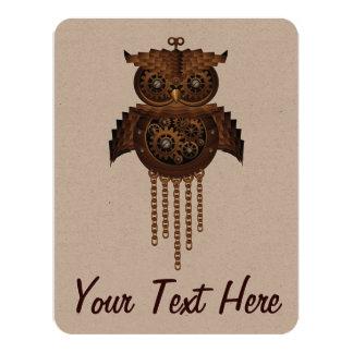 Steampunk Owl Vintage Style Invitation Card