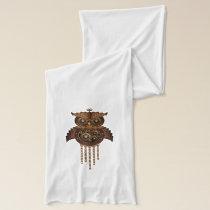 Steampunk Owl Vintage Style Jersey Scarf
