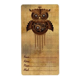 Steampunk Owl Vintage Style Labels