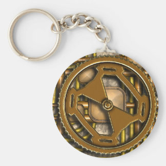 Steampunk Panel - Gears and Pipes - Brass Basic Round Button Keychain