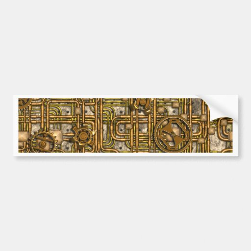 Steampunk Panel - Gears and Pipes - Brass Bumper Sticker