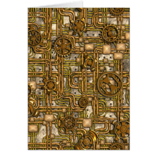 Steampunk Panel - Gears and Pipes - Brass Card