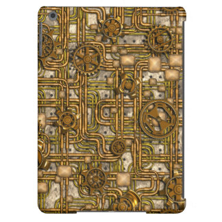 Steampunk Panel - Gears and Pipes - Brass Cover For iPad Air