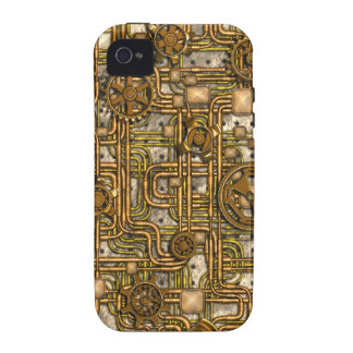 Steampunk Panel - Gears and Pipes - Brass Vibe iPhone 4 Cover