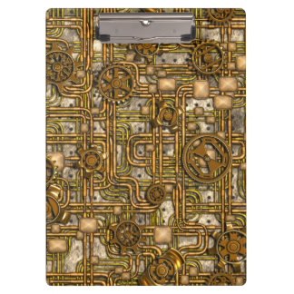 Steampunk Panel - Gears and Pipes - Brass Clipboard