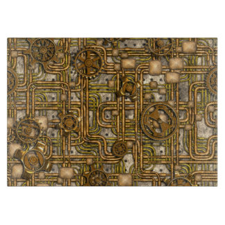Steampunk Panel - Gears and Pipes - Brass Cutting Board