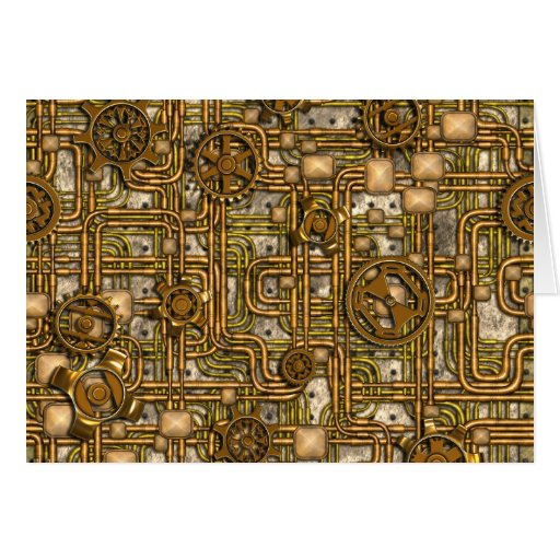 Steampunk Panel - Gears and Pipes - Brass Greeting Card