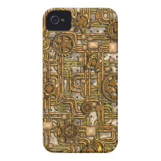 Steampunk Panel - Gears and Pipes - Brass iPhone 4 Cases
