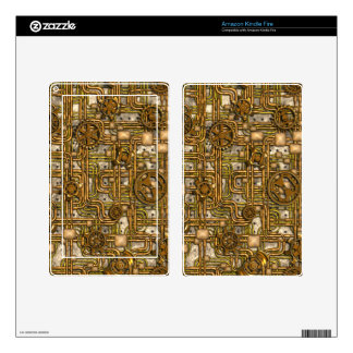 Steampunk Panel - Gears and Pipes - Brass Kindle Fire Decal
