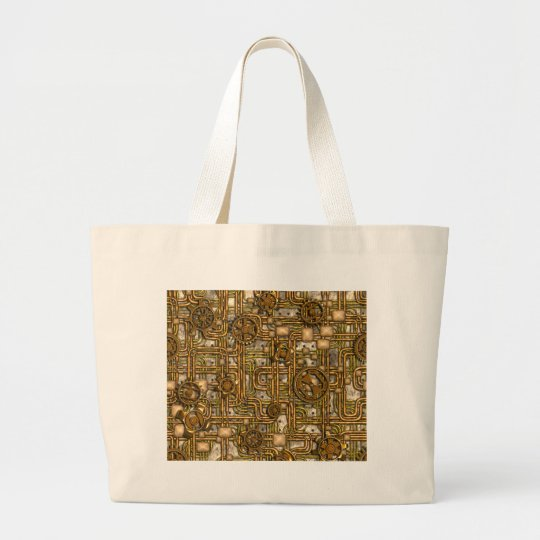 Steampunk Panel - Gears and Pipes - Brass Large Tote Bag