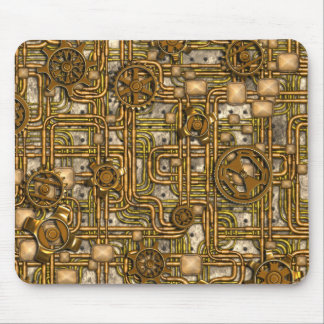 Steampunk Panel - Gears and Pipes - Brass Mouse Pad