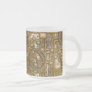 Steampunk Panel - Gears and Pipes - Brass 10 Oz Frosted Glass Coffee Mug