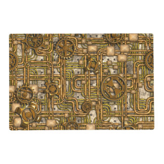 Steampunk Panel - Gears and Pipes - Brass Placemat