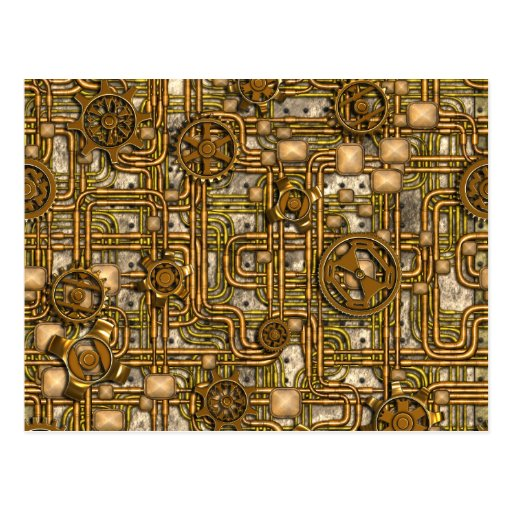 Steampunk Panel - Gears and Pipes - Brass Postcards