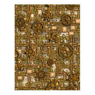 Steampunk Panel - Gears and Pipes - Brass Postcard