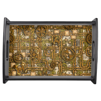 Steampunk Panel - Gears and Pipes - Brass Serving Tray