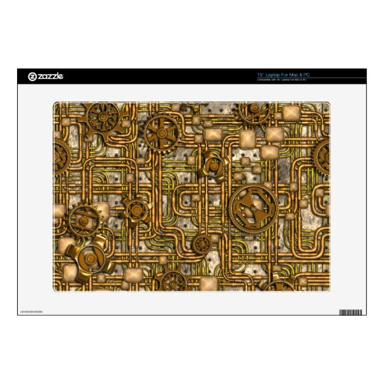 Steampunk Panel - Gears and Pipes - Brass Skins For Laptops