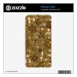 Steampunk Panel - Gears and Pipes - Brass Skins For The iPhone 4