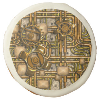 Steampunk Panel - Gears and Pipes - Brass Sugar Cookie