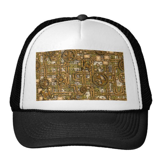 Steampunk Panel - Gears and Pipes - Brass Trucker Hat