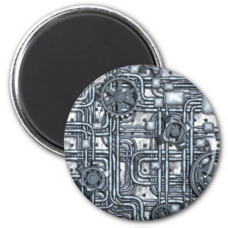 Steampunk Panel - Gears and Pipes - Steel 2 Inch Round Magnet