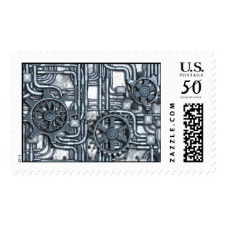 Steampunk Panel-Gears and Pipes-Steel-Postage Postage