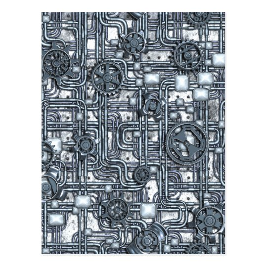 Steampunk Panel - Gears and Pipes - Steel Postcard