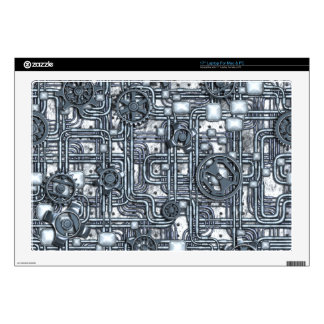 "Steampunk Panel - Gears and Pipes - Steel Skin For 17"" Laptop"