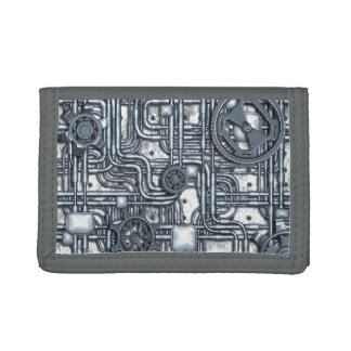 Steampunk Panel - Gears and Pipes - Steel Trifold Wallets