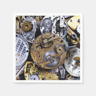 Steampunk party Vintage Victorian Pocket watch Paper Napkin