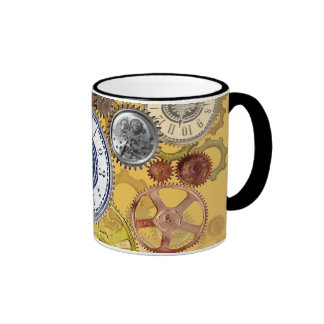 Steampunk Patterns wheels, gears cogs and things Ringer Mug