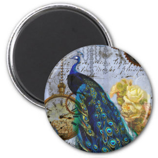 steampunk peacock yellow rose time clock magnet